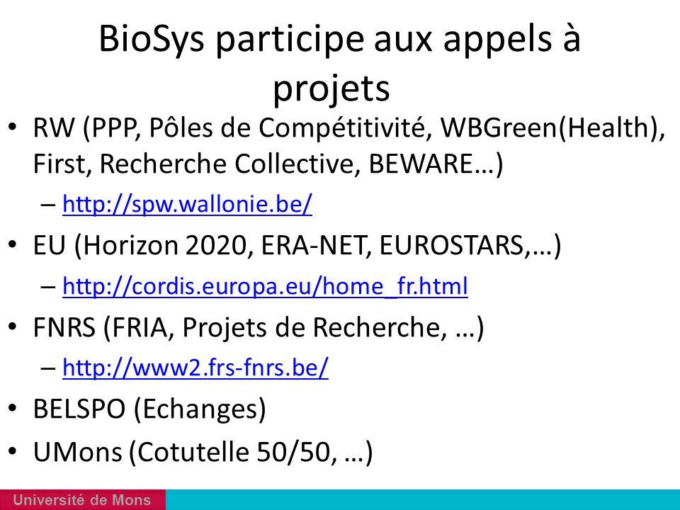 Université de Mons BioSys participe aux appels à projets RW (PPP, Pôles de Compétitivité, WBGreen(Health), First, Recherche Collective, BEWARE…) – htt