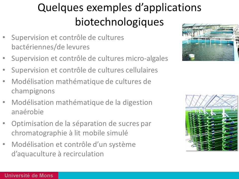 Université de Mons Supervision et contrôle de cultures bactériennes/de levures Supervision et contrôle de cultures micro-algales Supervision et contrô