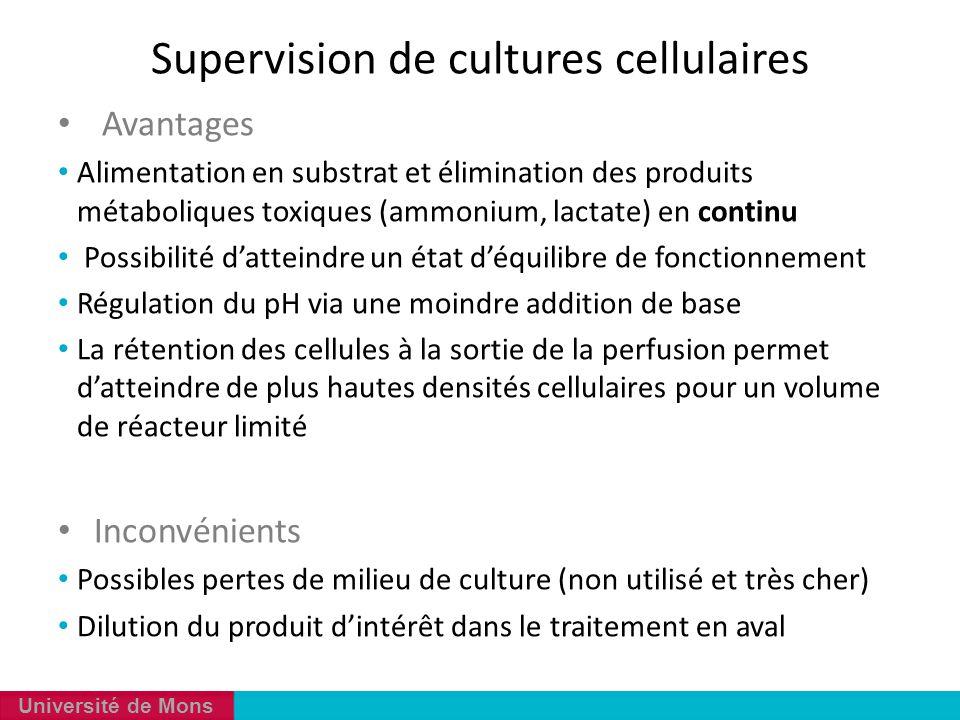Université de Mons Avantages Alimentation en substrat et élimination des produits métaboliques toxiques (ammonium, lactate) en continu Possibilité d'a
