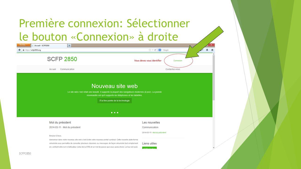 SCFP2850 Première connexion: Sélectionner le bouton «Connexion» à droite