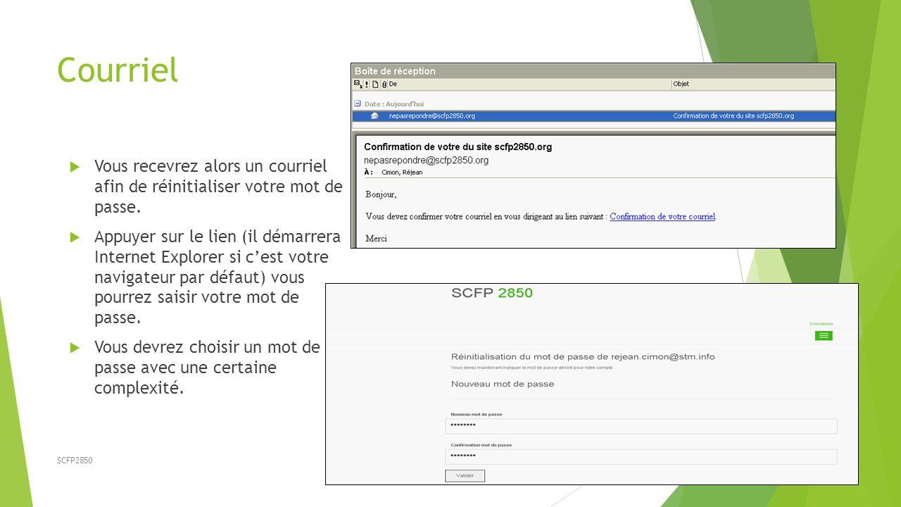 SCFP2850 Courriel  Vous recevrez alors un courriel afin de réinitialiser votre mot de passe.
