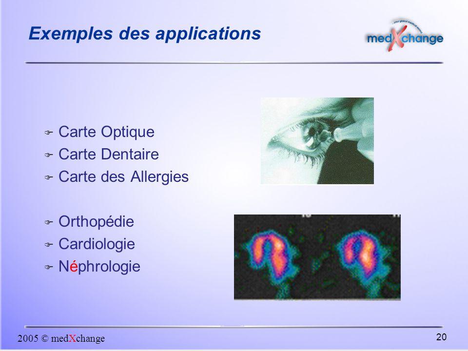 2005 © medXchange 20 Exemples des applications  Carte Optique  Carte Dentaire  Carte des Allergies  Orthopédie  Cardiologie  Néphrologie