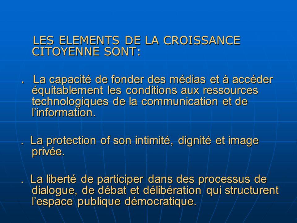 LES ELEMENTS DE LA CROISSANCE CITOYENNE SONT: LES ELEMENTS DE LA CROISSANCE CITOYENNE SONT:.