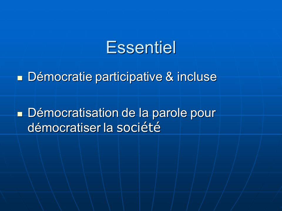 Essentiel Démocratie participative & incluse Démocratie participative & incluse Démocratisation de la parole pour démocratiser la société Démocratisation de la parole pour démocratiser la société