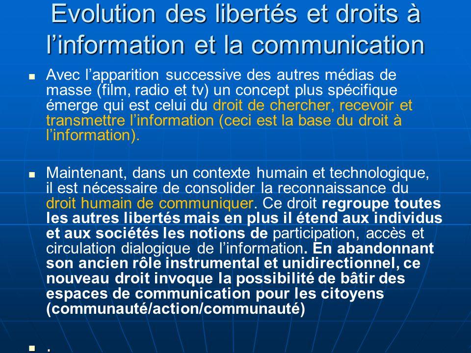 Evolution des libertés et droits à l'information et la communication Avec l'apparition successive des autres médias de masse (film, radio et tv) un concept plus spécifique émerge qui est celui du droit de chercher, recevoir et transmettre l'information (ceci est la base du droit à l'information).