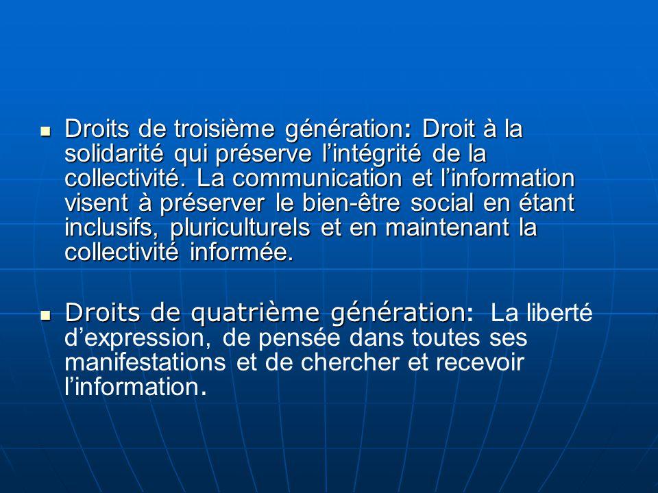 Droits de troisième génération: Droit à la solidarité qui préserve l'intégrité de la collectivité.