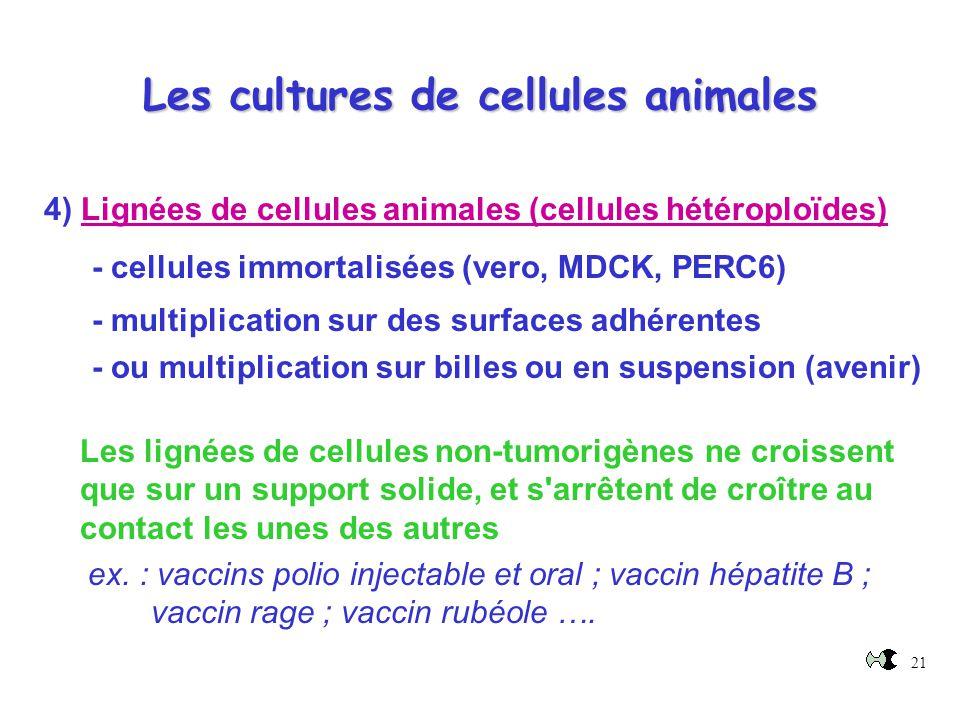 21 Les cultures de cellules animales 4) Lignées de cellules animales (cellules hétéroploïdes) - cellules immortalisées (vero, MDCK, PERC6) - multiplic
