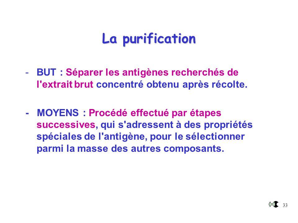 33 La purification -BUT : Séparer les antigènes recherchés de l'extrait brut concentré obtenu après récolte. - MOYENS : Procédé effectué par étapes su