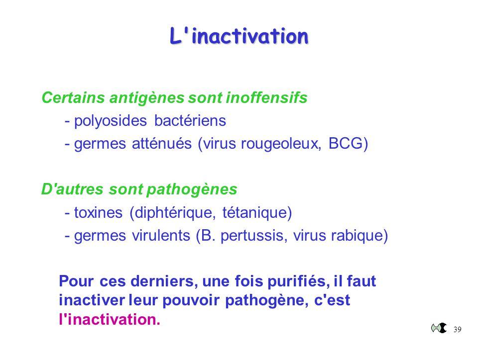 39 L'inactivation Certains antigènes sont inoffensifs - polyosides bactériens - germes atténués (virus rougeoleux, BCG) D'autres sont pathogènes - tox