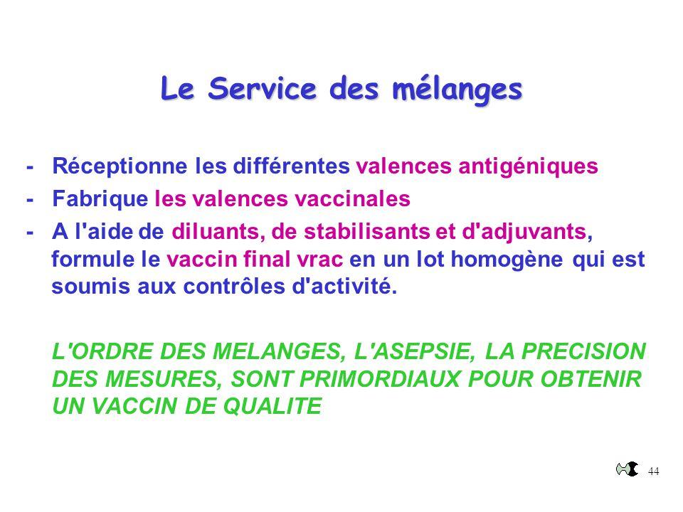 44 Le Service des mélanges - Réceptionne les différentes valences antigéniques - Fabrique les valences vaccinales - A l'aide de diluants, de stabilisa