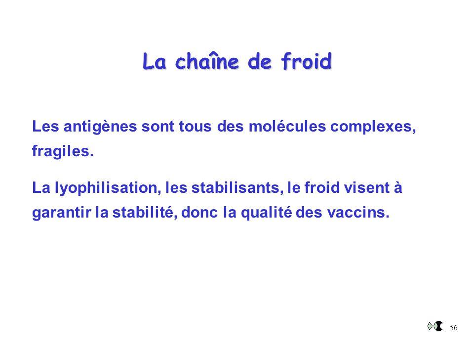 56 La chaîne de froid Les antigènes sont tous des molécules complexes, fragiles. La lyophilisation, les stabilisants, le froid visent à garantir la st