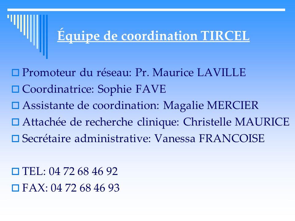 Équipe de coordination TIRCEL  Promoteur du réseau: Pr.