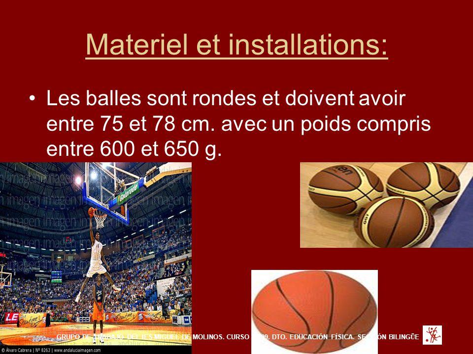Materiel et installations: Les balles sont rondes et doivent avoir entre 75 et 78 cm. avec un poids compris entre 600 et 650 g. GRUPO DE TRABAJO DEL I