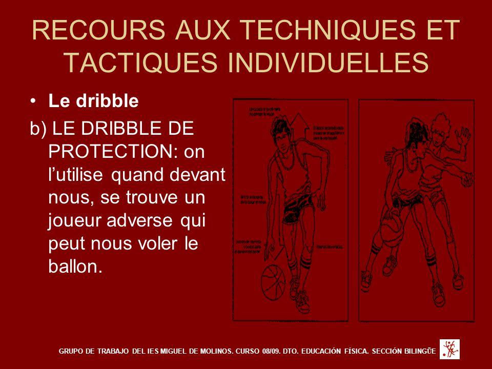RECOURS AUX TECHNIQUES ET TACTIQUES INDIVIDUELLES Le dribble b) LE DRIBBLE DE PROTECTION: on l'utilise quand devant nous, se trouve un joueur adverse