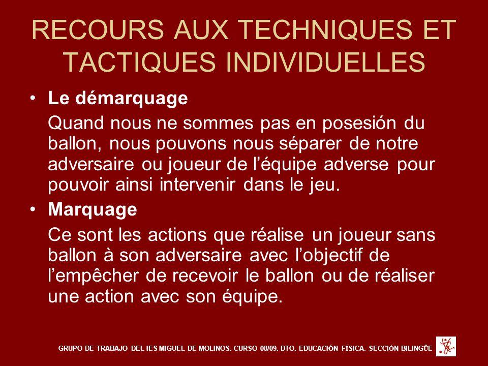 RECOURS AUX TECHNIQUES ET TACTIQUES INDIVIDUELLES Le démarquage Quand nous ne sommes pas en posesión du ballon, nous pouvons nous séparer de notre adv