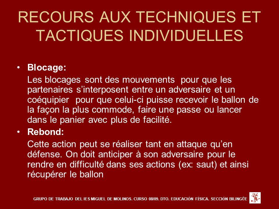 RECOURS AUX TECHNIQUES ET TACTIQUES INDIVIDUELLES Blocage: Les blocages sont des mouvements pour que les partenaires s'interposent entre un adversaire