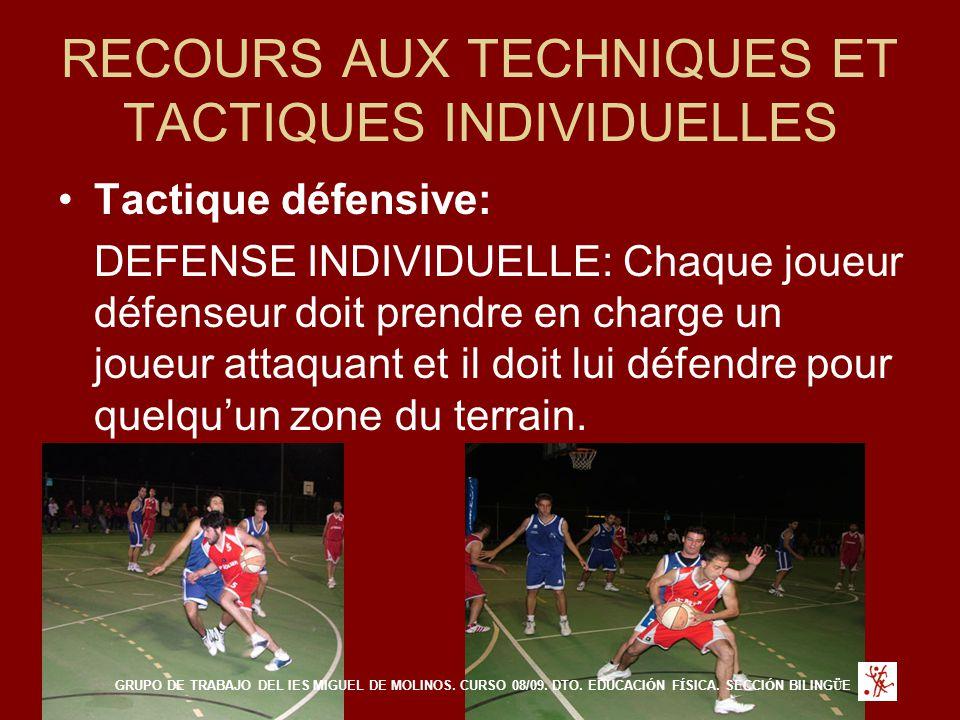 RECOURS AUX TECHNIQUES ET TACTIQUES INDIVIDUELLES Tactique défensive: DEFENSE INDIVIDUELLE: Chaque joueur défenseur doit prendre en charge un joueur attaquant et il doit lui défendre pour quelqu'un zone du terrain.