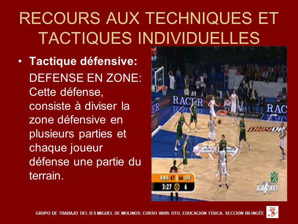 RECOURS AUX TECHNIQUES ET TACTIQUES INDIVIDUELLES Tactique défensive: DEFENSE EN ZONE: Cette défense, consiste à diviser la zone défensive en plusieurs parties et chaque joueur défense une partie du terrain.