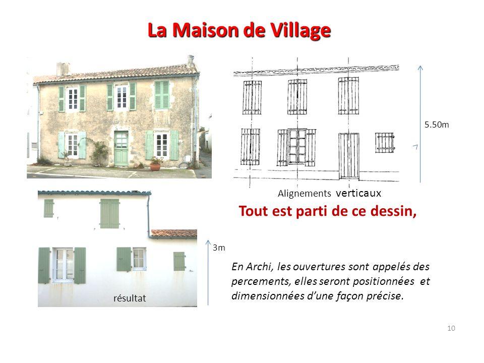 10 La Maison de Village Alignements verticaux Tout est parti de ce dessin, En Archi, les ouvertures sont appelés des percements, elles seront position