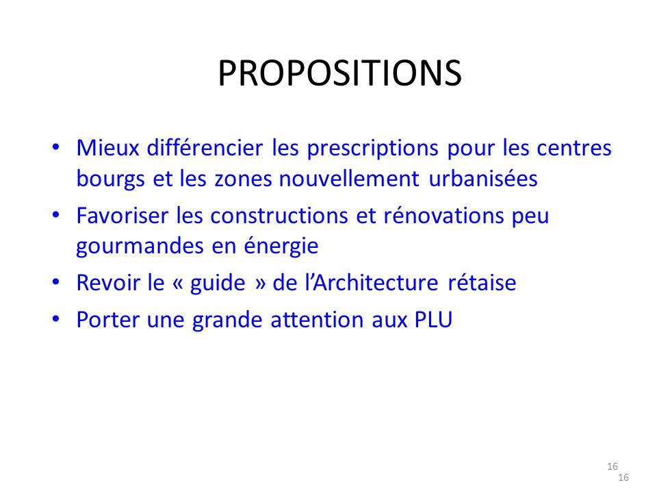 16 PROPOSITIONS Mieux différencier les prescriptions pour les centres bourgs et les zones nouvellement urbanisées Favoriser les constructions et rénov