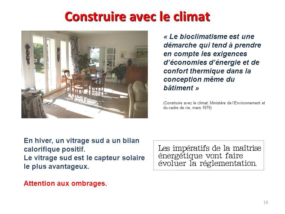 Construire avec le climat « Le bioclimatisme est une démarche qui tend à prendre en compte les exigences d'économies d'énergie et de confort thermique