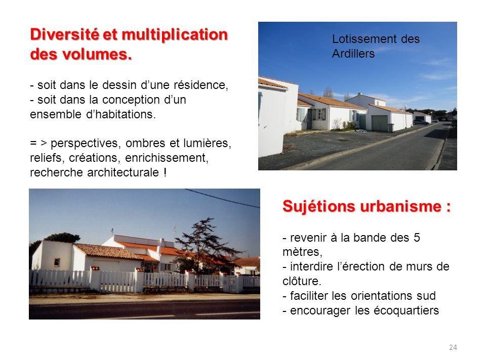 24 Diversité et multiplication des volumes. - soit dans le dessin d'une résidence, - soit dans la conception d'un ensemble d'habitations. = > perspect