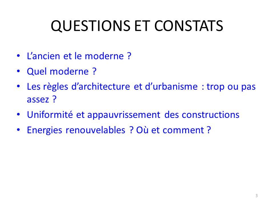 QUESTIONS ET CONSTATS L'ancien et le moderne ? Quel moderne ? Les règles d'architecture et d'urbanisme : trop ou pas assez ? Uniformité et appauvrisse