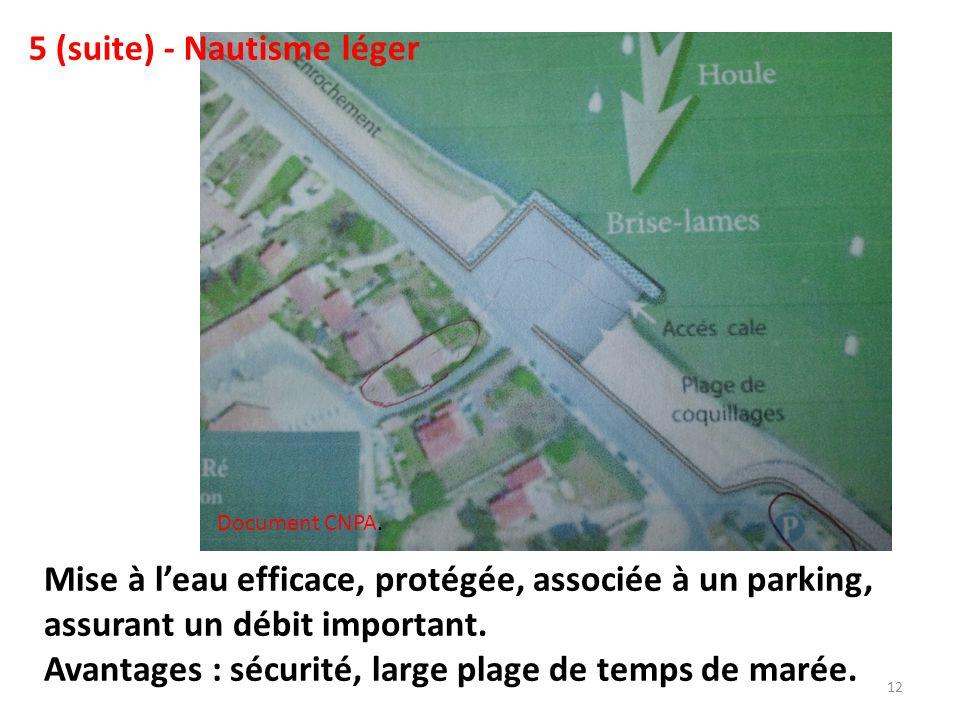 Mise à l'eau efficace, protégée, associée à un parking, assurant un débit important.