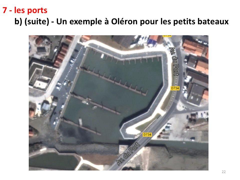 22 7 - les ports b) (suite) - Un exemple à Oléron pour les petits bateaux