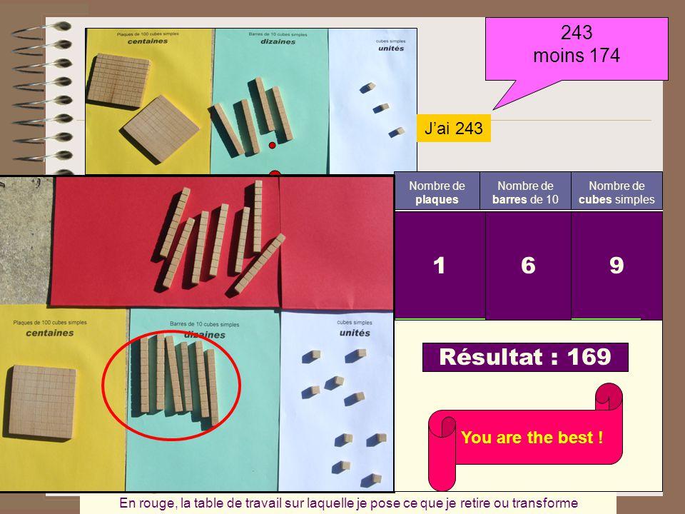 243 moins 174 J'ai 243 Nombre de cubes simples Nombre de barres de 10 Nombre de plaques 9 cubes 3 barres 2 plaques Je rencontre un autre problème Comm