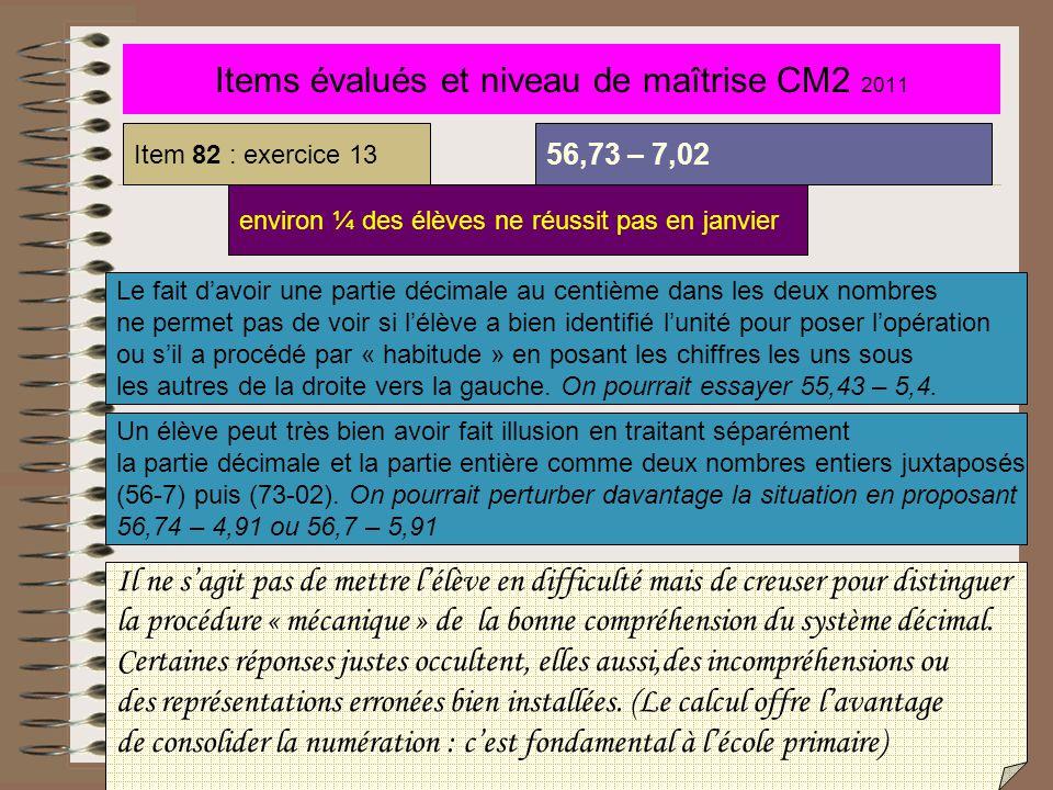 Items évalués et niveau de maîtrise CM2 2011 Item 82 : exercice 13 56,73 – 7,02 environ ¼ des élèves ne réussit pas en janvier Le fait d'avoir une par