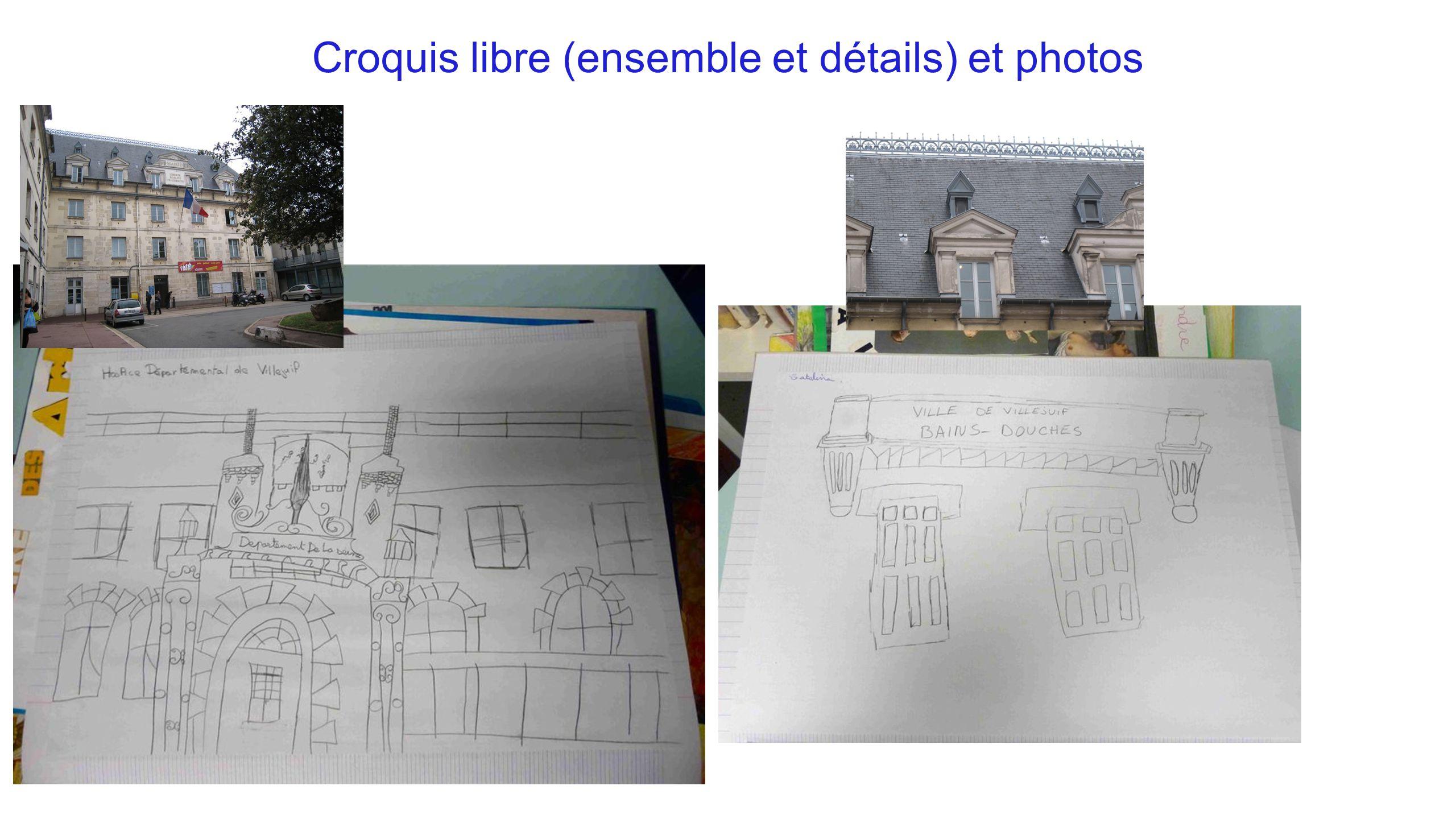 Croquis libre (ensemble et détails) et photos