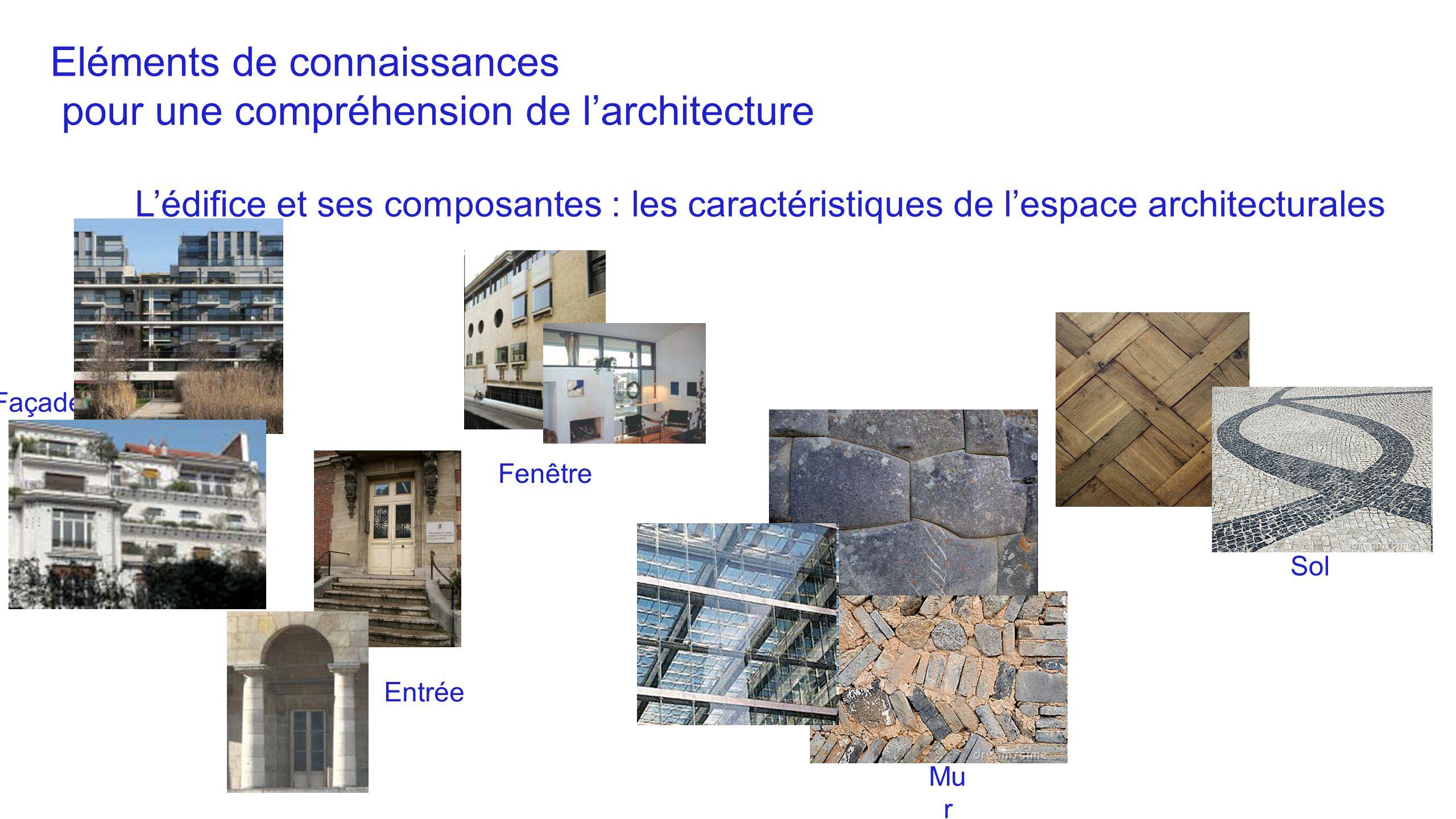 Eléments de connaissances pour une compréhension de l'architecture L'édifice et ses composantes : les caractéristiques de l'espace architecturales Faç