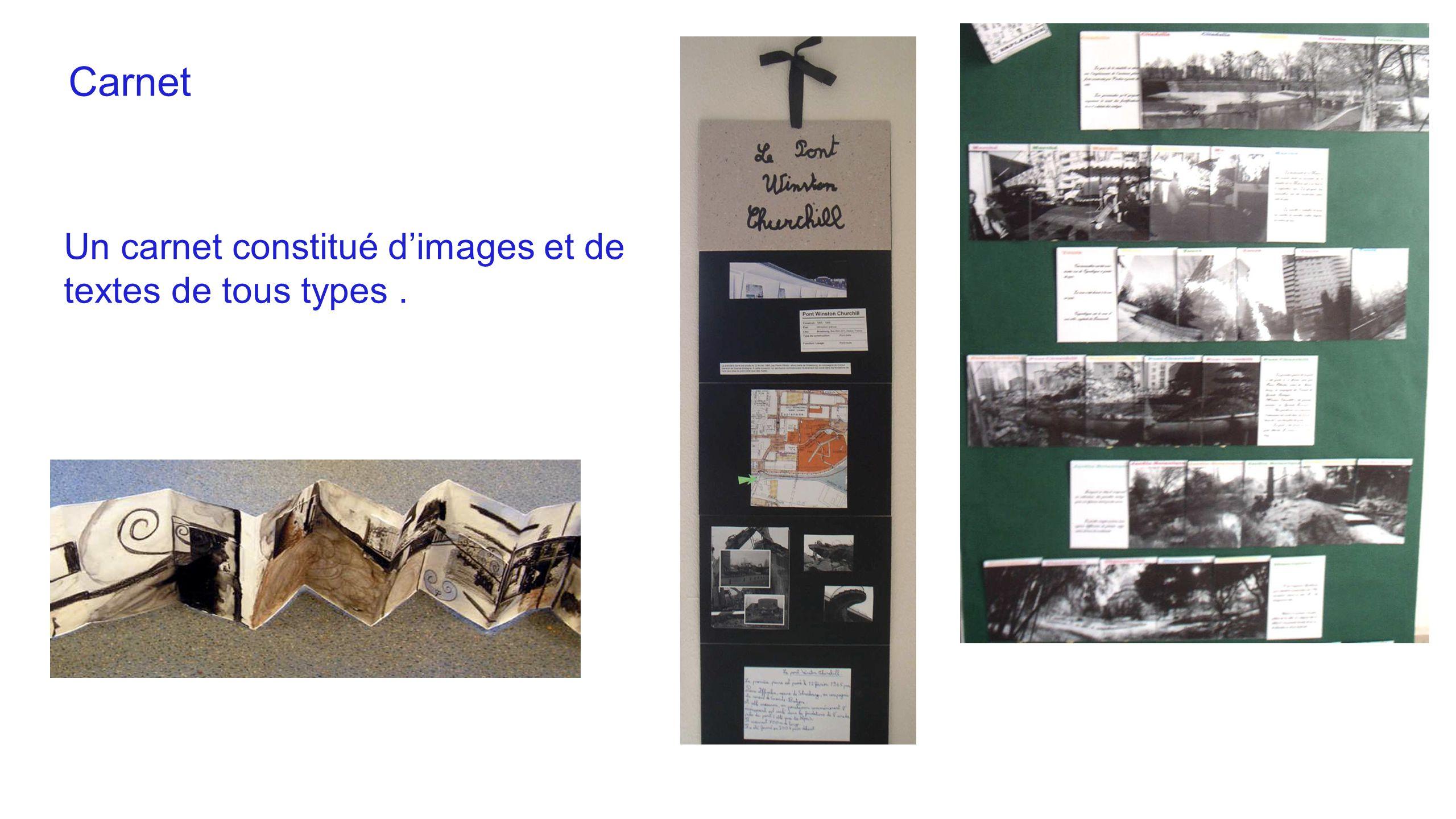 Carnet Un carnet constitué d'images et de textes de tous types.