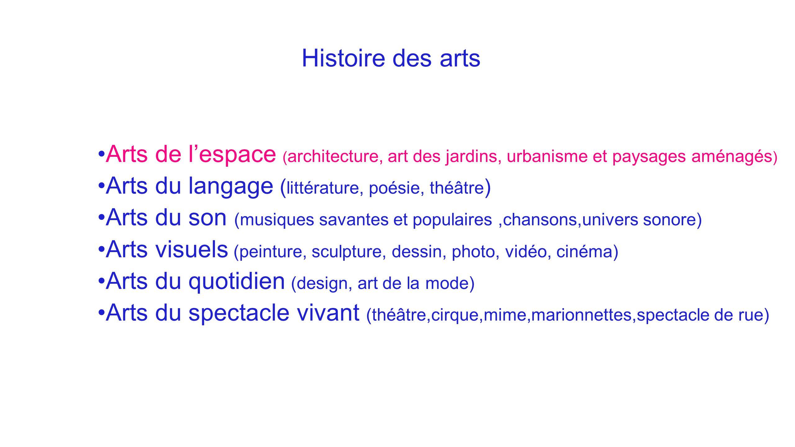 Histoire des arts Arts de l'espace ( architecture, art des jardins, urbanisme et paysages aménagés ) Arts du langage ( littérature, poésie, théâtre )