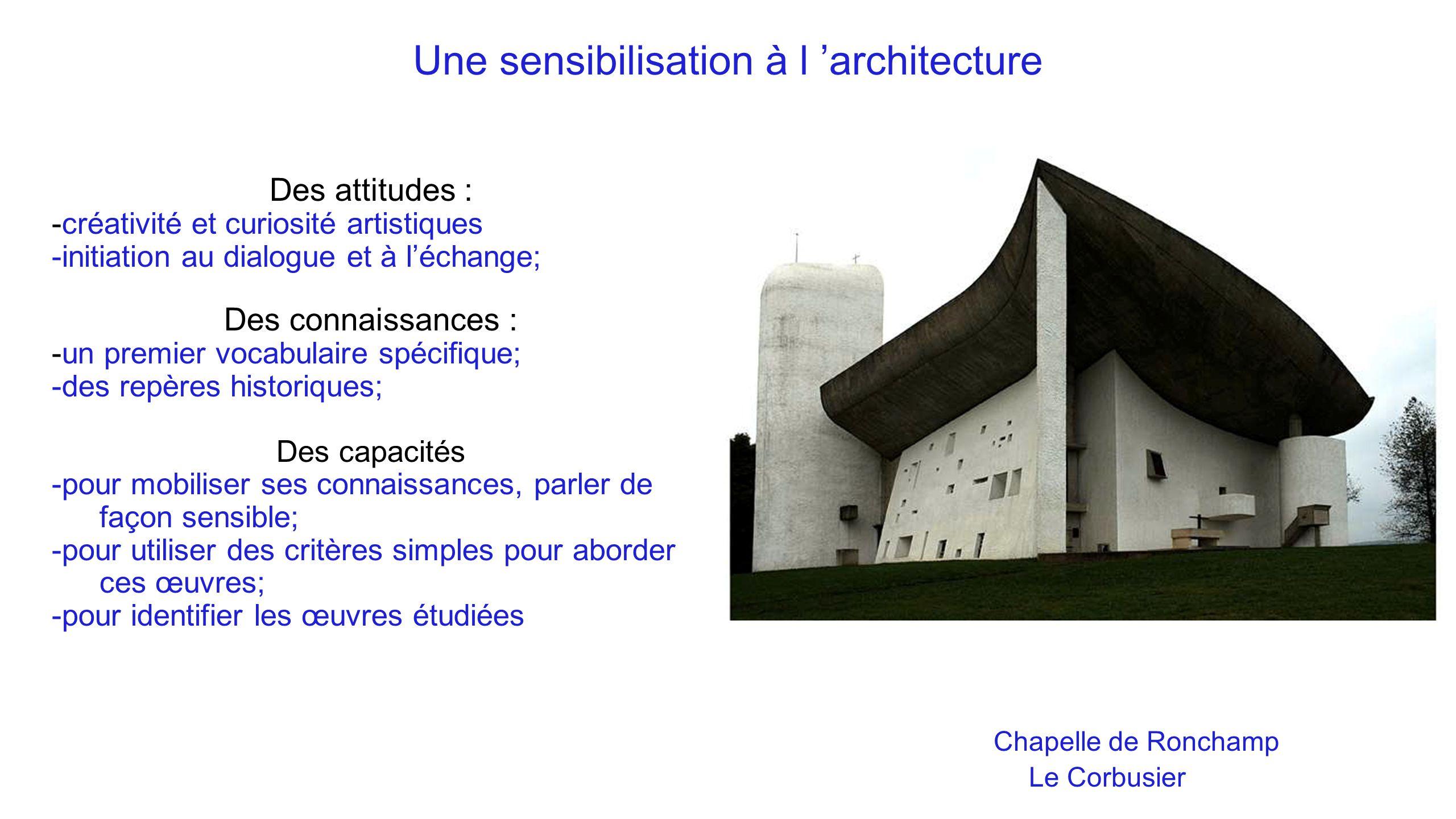Une sensibilisation à l 'architecture Chapelle de Ronchamp Le Corbusier Des attitudes : -créativité et curiosité artistiques -initiation au dialogue e