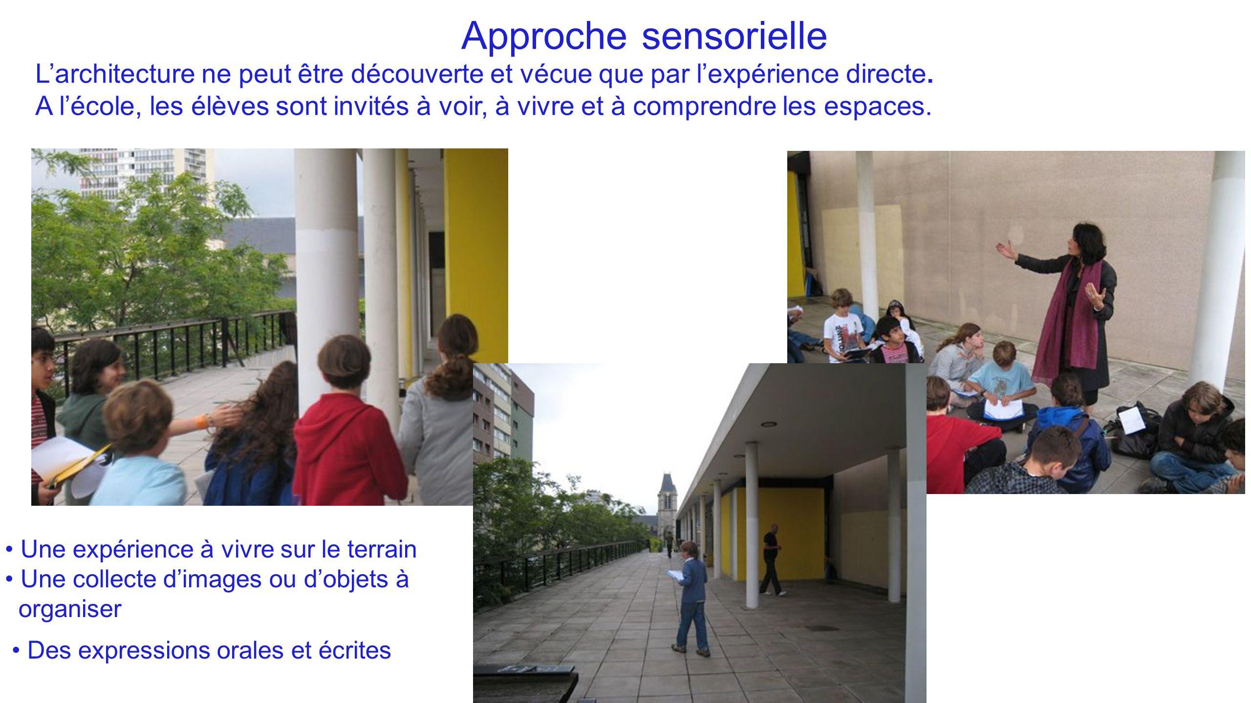 Approche sensorielle L'architecture ne peut être découverte et vécue que par l'expérience directe. A l'école, les élèves sont invités à voir, à vivre