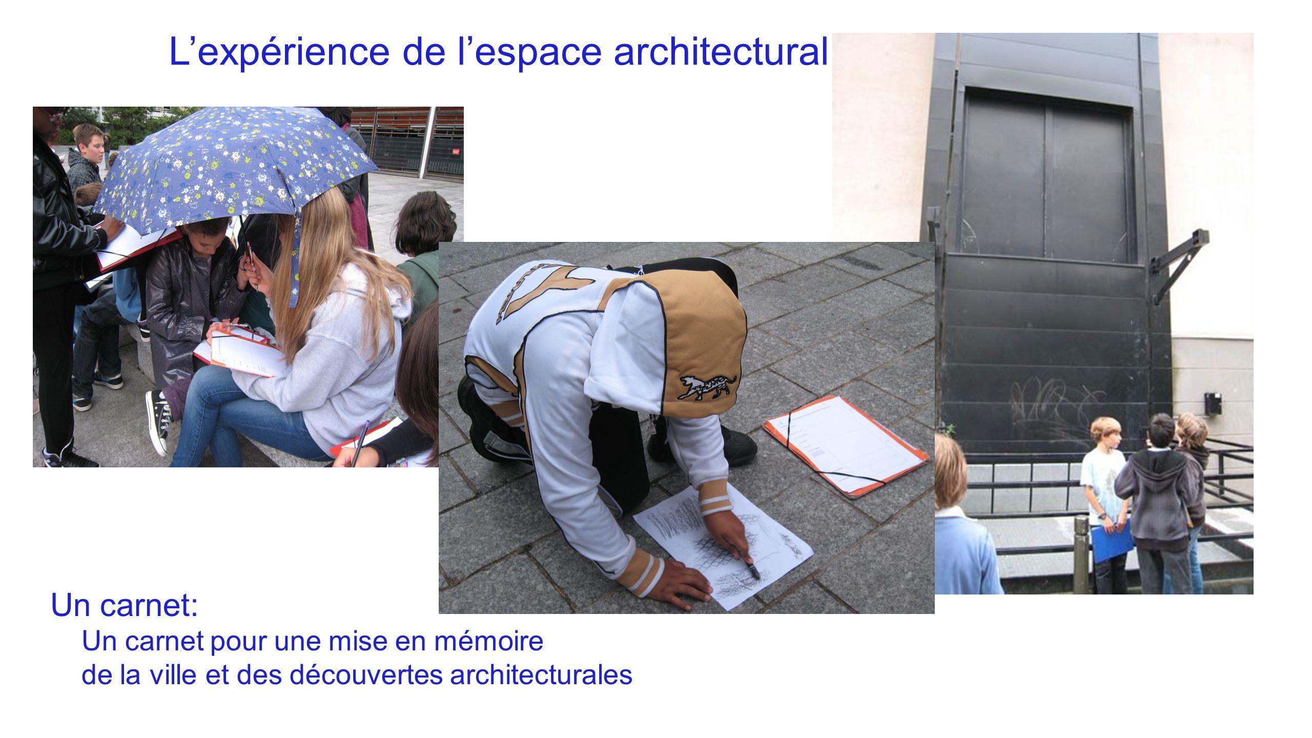 L'expérience de l'espace architectural Un carnet: Un carnet pour une mise en mémoire de la ville et des découvertes architecturales