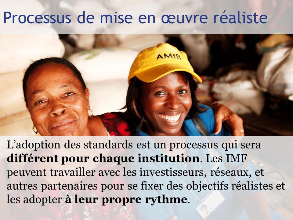 Processus de mise en œuvre réaliste L'adoption des standards est un processus qui sera différent pour chaque institution.