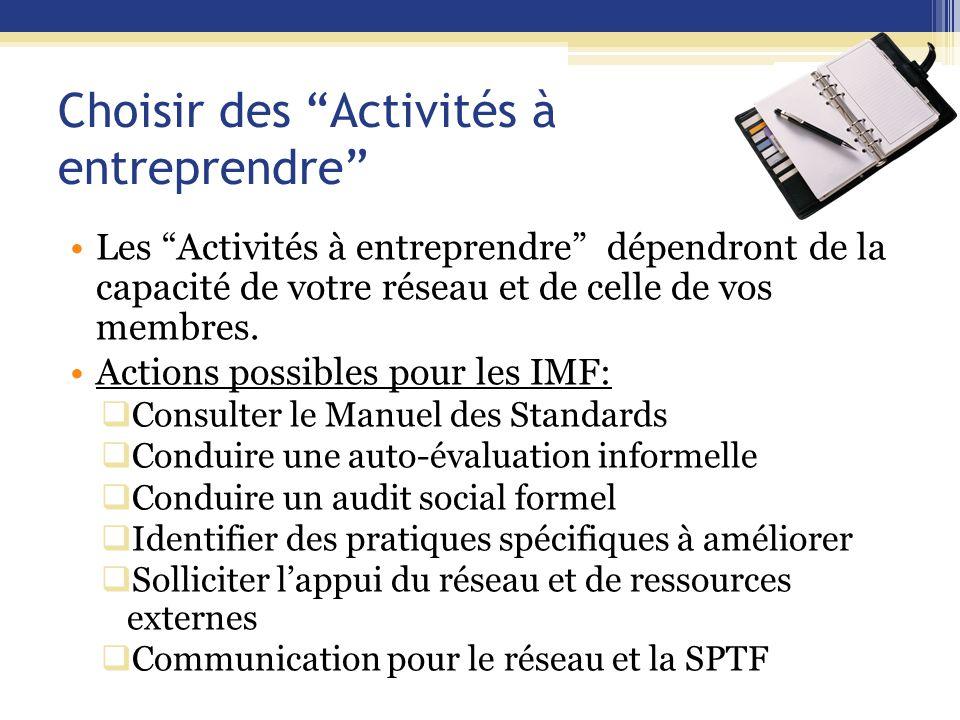 Choisir des Activités à entreprendre Les Activités à entreprendre dépendront de la capacité de votre réseau et de celle de vos membres.