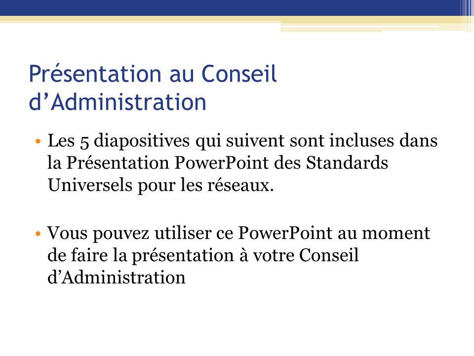 Présentation au Conseil d'Administration Les 5 diapositives qui suivent sont incluses dans la Présentation PowerPoint des Standards Universels pour les réseaux.
