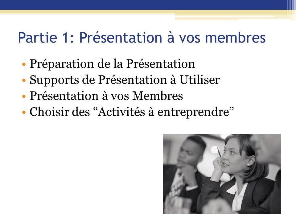 Partie 1: Présentation à vos membres Préparation de la Présentation Supports de Présentation à Utiliser Présentation à vos Membres Choisir des Activités à entreprendre
