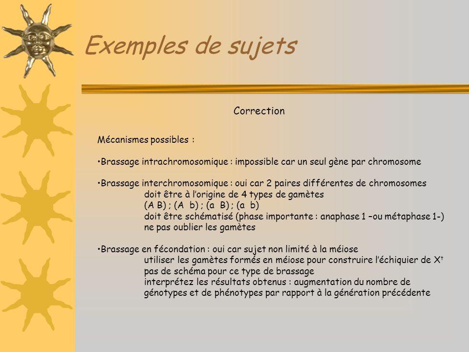 Exemples de sujets Correction Mécanismes possibles : Brassage intrachromosomique : impossible car un seul gène par chromosome Brassage interchromosomi