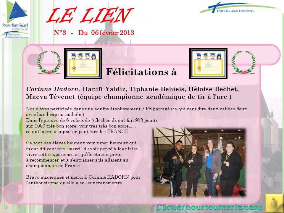 LE LIEN N°4 - Du 05 Mars 2013 « Les candidates et candidats aux concours d'entrée en Institut de Formation en Soins Infirmiers ou en Ecoles Sociales (