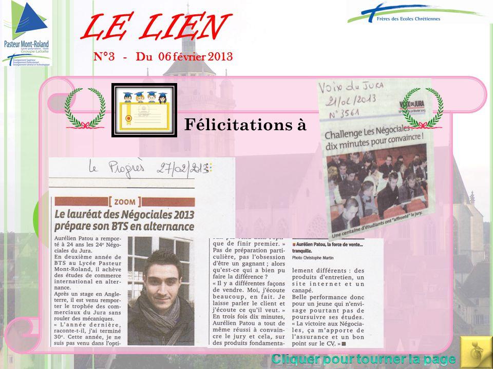 LE LIEN N°3 - Du 06 février 2013 Félicitations à Corinne Hadorn, Hanifi Yaldiz, Tiphanie Behiels, Héloise Bechet, Maeva Tévenet (équipe championne aca
