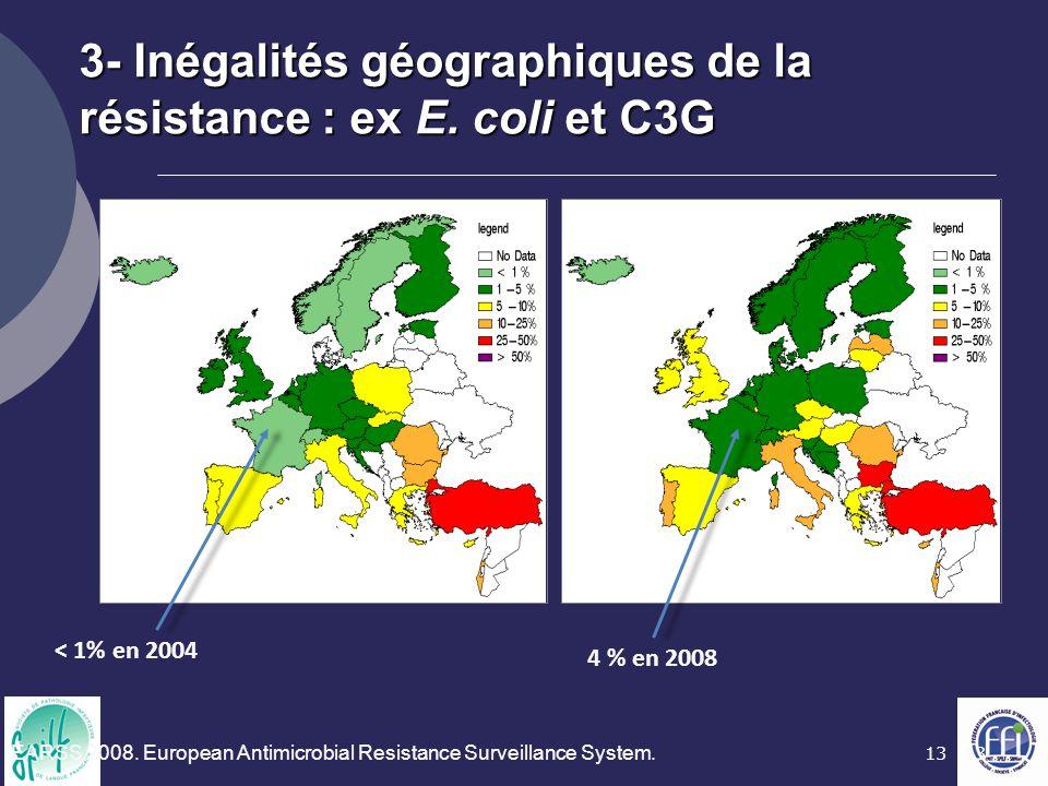 13 3- Inégalités géographiques de la résistance : ex E. coli et C3G < 1% en 2004 4 % en 2008 EARSS 2008. European Antimicrobial Resistance Surveillanc