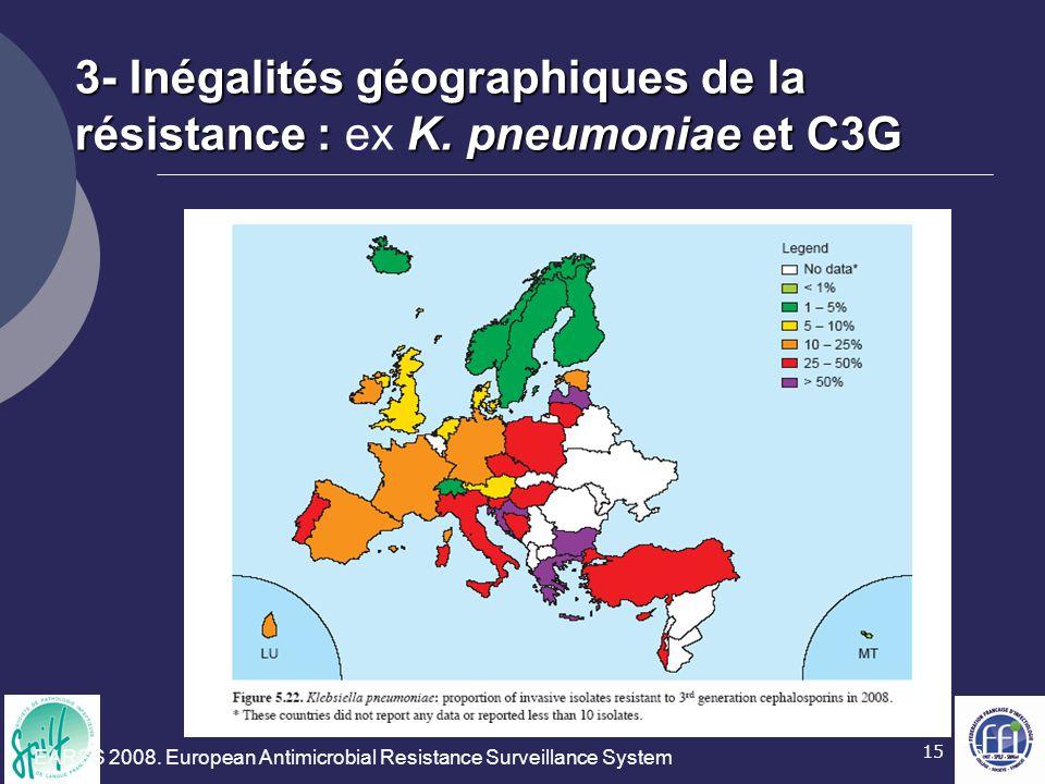 15 3- Inégalités géographiques de la résistance :K. pneumoniae et C3G 3- Inégalités géographiques de la résistance : ex K. pneumoniae et C3G EARSS 200