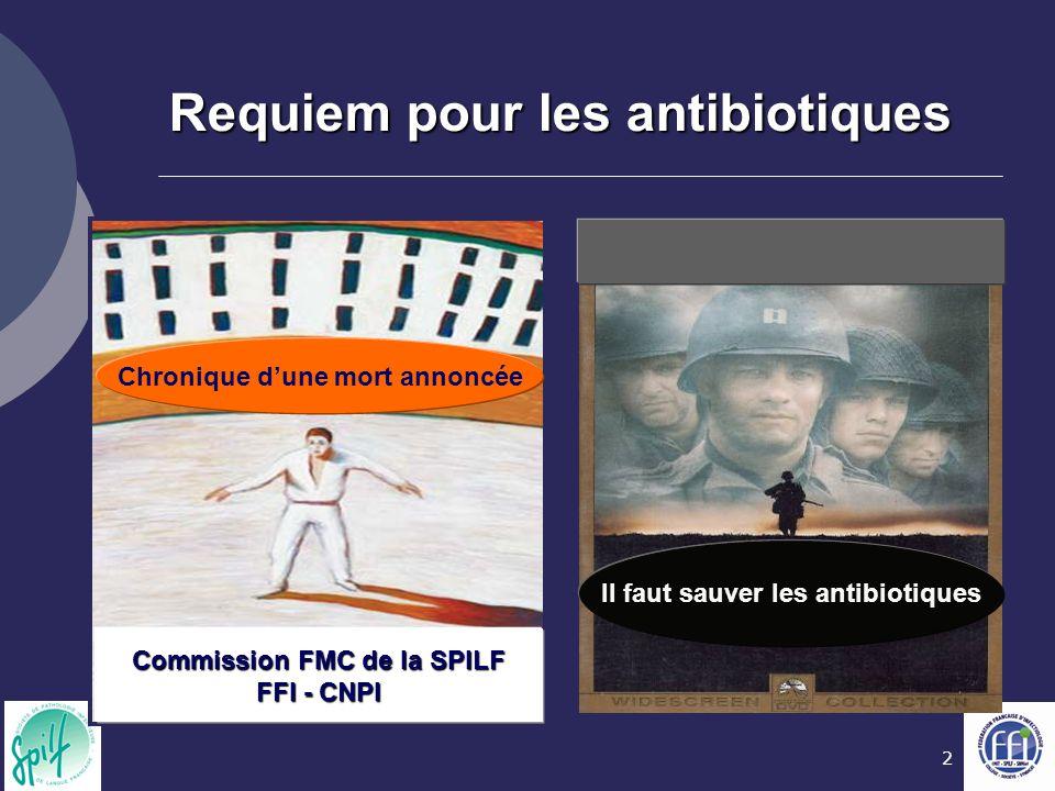 2 Requiem pour les antibiotiques Commission FMC de la SPILF FFI - CNPI Chronique d'une mort annoncée Il faut sauver les antibiotiques