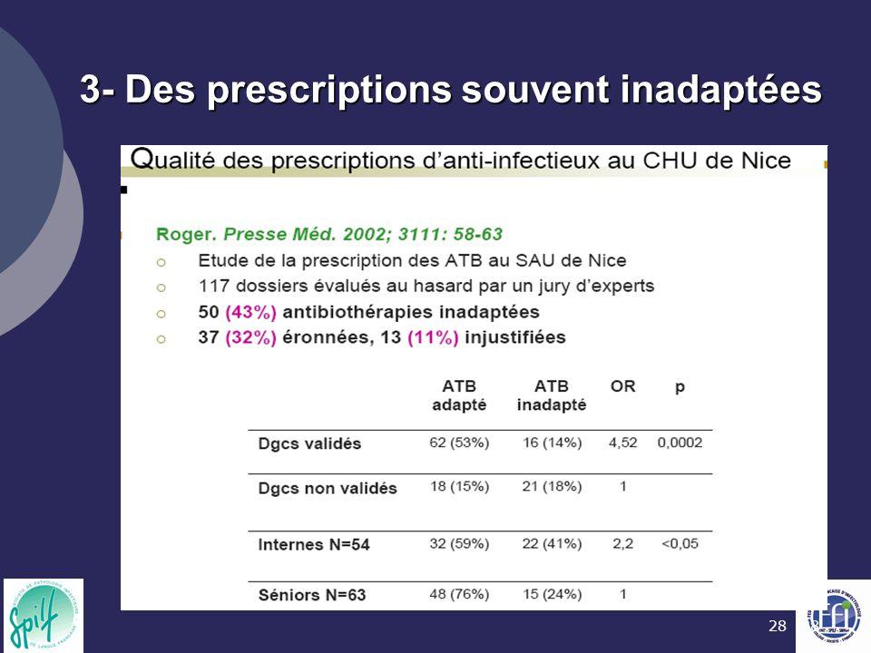 28 3- Des prescriptions souvent inadaptées