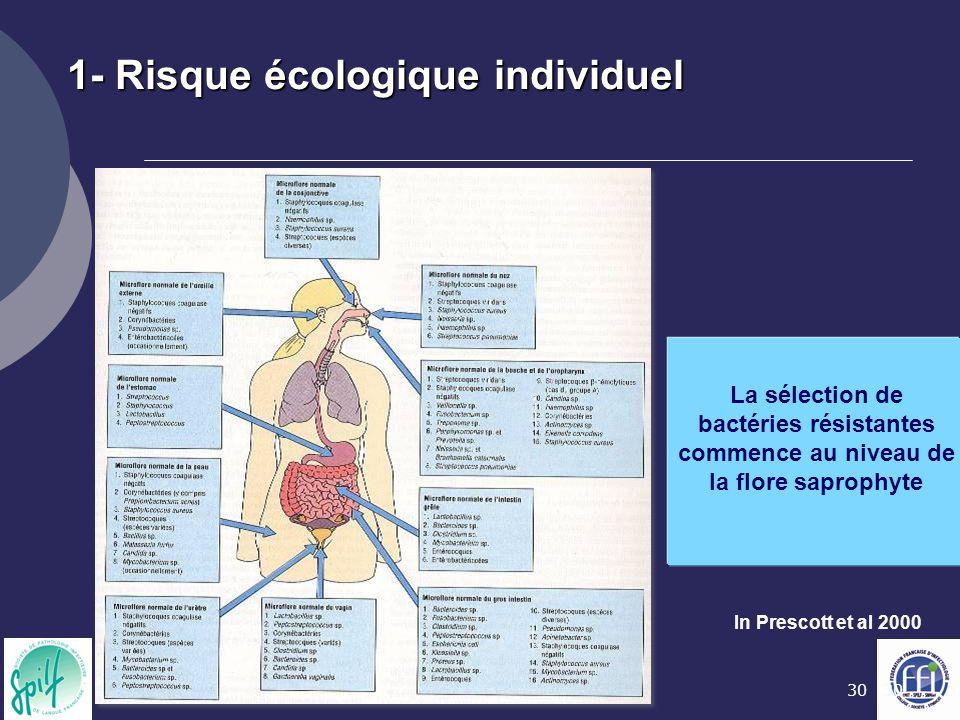30 In Prescott et al 2000 1- Risque écologique individuel La sélection de bactéries résistantes commence au niveau de la flore saprophyte